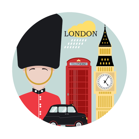 guardsman: London. Travel background and infographic. Colorful concept in flat style with famous landmarks and elements: Big Ben, taxi, red phone, guard. Illustration