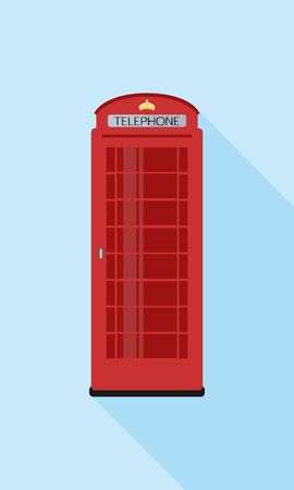 Red phone, London. A simple icon in flat style with shadow. Colorful vector illustration. Ilustração