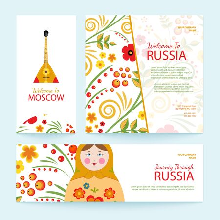 russian pattern: Set of travel banners. Welcome to Russia. Vector illustration with traditional Russian pattern and elements: balalaika, matryoshka. Flat style.