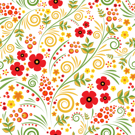 Floral background with berries, leaves, swirls. Russian traditional ornament. Vector seamless pattern in hohloma style.
