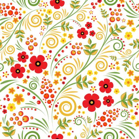 Floral de fondo con bayas, hojas, remolinos. Adorno tradicional de Rusia. Modelo inconsútil del vector en estilo del hohloma. Foto de archivo - 57874415