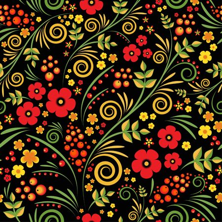 Russian ornament. Traditional seamless pattern in hohloma style. Black floral background with berries, leaves, swirls. Vector illustration.