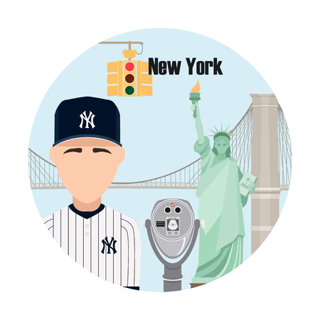 New York. Travel background and infographic. Colorful concept in flat style with famous landmarks and elements: the Statue of Liberty, Brooklyn bridge, yellow lights, telescope of Top of the Rock.