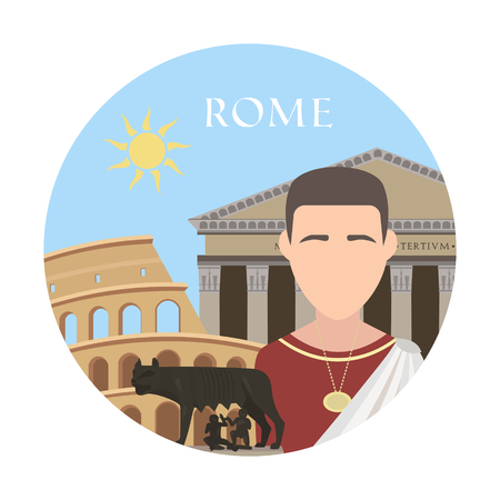 pantheon: Rome. Travel background and infographic. Colorful concept in flat style with famous landmarks and elements: Capitoline wolf, the Capitol, the Pantheon, the Roman