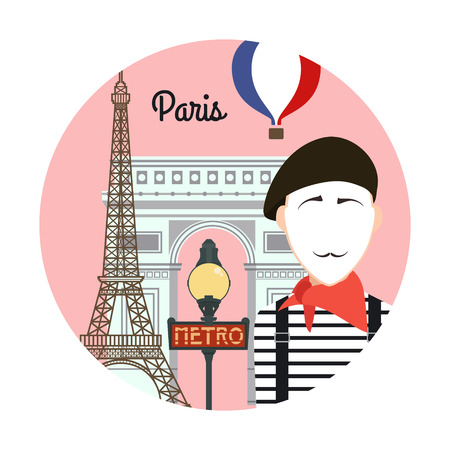 arc de triomphe: Paris. Travel background and infographic. Colorful concept in flat style with famous landmarks and elements: the Eiffel tower, the metro, the arc de Triomphe. Illustration