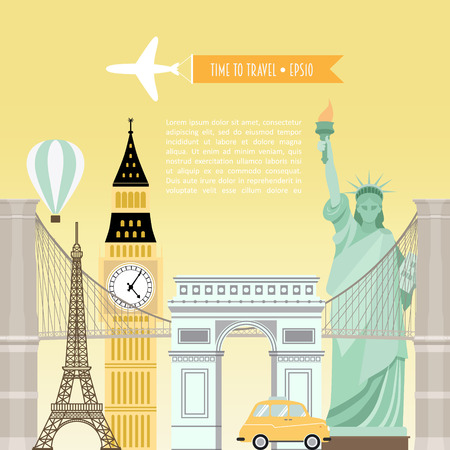 brooklyn bridge: Tourism template, flyer on yellow background. Vector illustration of monuments of Europe with place for your text. The statue of liberty, Big Ben, Eiffel tower, the Brooklyn bridge, Arc de Triomphe.