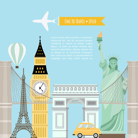 brooklyn bridge: Tourism template, flyer on blue background. Vector illustration of monuments of Europe with place for your text. The statue of liberty, Big Ben, Eiffel tower, the Brooklyn bridge, Arc de Triomphe. Illustration