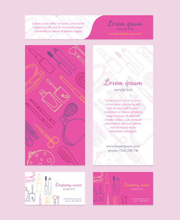 business products: Beauty salon - brochure, business card, banners. Template design in pink colors.