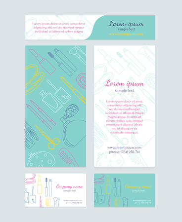 bussiness card: Beauty salon - brochure, business card, banners. Template design in turquoise colors. Illustration