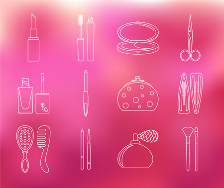 hairpin: Makeup and beauty set of linear icons on pink blurred background. Element collection: mascara, powder, hairpin, mirror, comb, cosmetic bag, nail file, scissors, nail polish, lipstick, eyeliner. Illustration