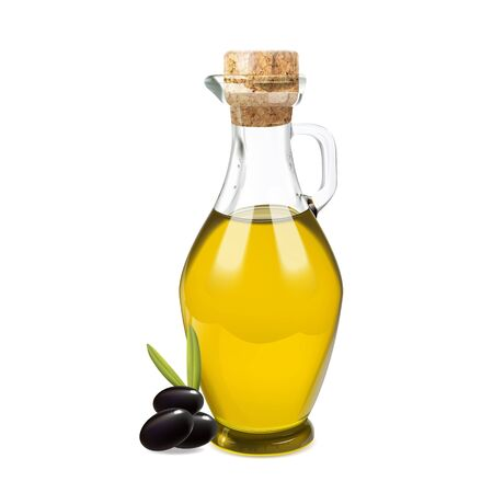 Vector bottle of olive oil with black olives. Illustration on isolated white background. Not traced.  イラスト・ベクター素材
