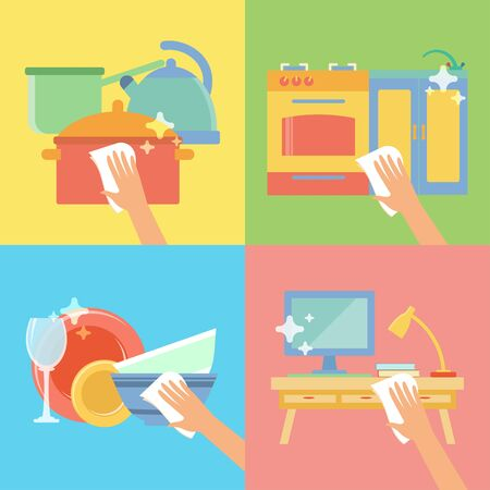 kitchen cleaning: Vector collection with rag for cleaning in flat style. Perfect for packaging, infographic. Colorful elements: cookware, pot, kettle, sink, stove, computer, lamp, kitchenware rag. Cleaning concept. Illustration