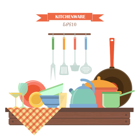 glass plate: Kitchenware. Vector set of elements on wooden table: cup, kettle, pot, ladle, tablecloth, plate, frying pan. Colorful kitchen scene in flat style. Perfect for infographic, web design. Illustration