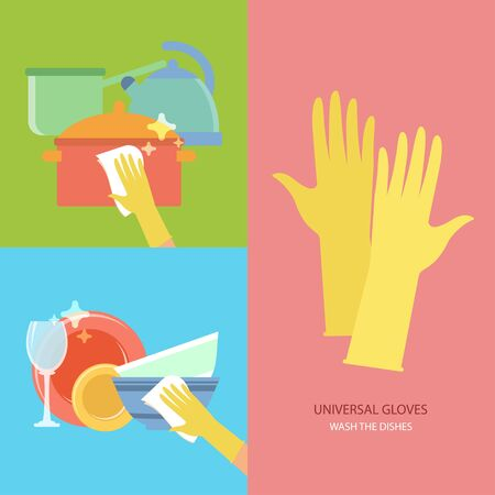 dishes: Wash the dishes. Vector collection with rubber gloves in flat style. Perfect for packaging, infographic. Colorful elements: cookware, pot, kettle, sink, kitchenware. Cleaning concept.