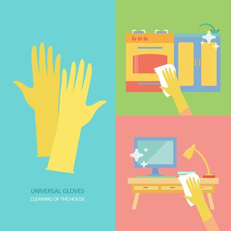 latex glove: Cleaning of the house. Vector collection with rubber gloves in flat style. Perfect for packaging, infographic. Colorful elements: stove, computer, lamp, kitchenware. Cleaning concept. Illustration