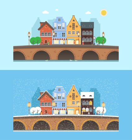 natural arch: Vector urban landscape with cityscape elements: house, shops, trees, bridge and people. Flat illustrations with winter and summer season. Perfect template for web or any designs.