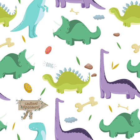 nature pattern: Dinosaurs. Vector seamless pattern on white background. Illustration with colorful dinosaurs.