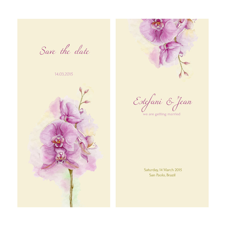 Save the date. Love card with watercolor orchid on yellow background. Vector template with place for your text.