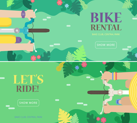 summer tires: Bike rental. Vector set of illustrations in the flat style with a bikes, man, women and nature landscape: road, trees, flowers. Top view. Colorful concept perfect for web design, banners, advertising.