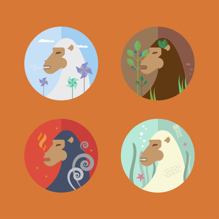 four elements: Vector set of monkeys and the four elements of water, earth, air and fire. Colorful illustrations perfect for the horoscope. Symbol of 2016 in flat style. Easy editing. Illustration