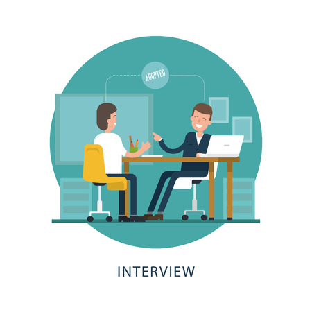adopted: Jobseeker and employer sit at the table and talk. Good impression. Adopted. Vector scene in the circle on white background. Simple concept with working situation in flat style. Hiring. Recruitment. Illustration