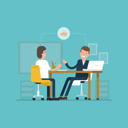 situation: Vector concept interviews by the candidate in flat style. Jobseeker and employer sit at the table and talk. Good impression. Thumbs up! Simple concept with working situation. Recruitment. Hiring.