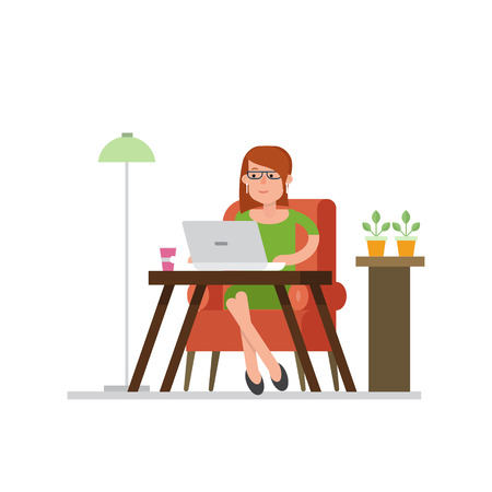distant: Business woman working in coworking in a chair with a laptop. The workspace with a bright decor, flowers and a lamp. Vector concept in a flat style. Workflow, distant work. Illustration