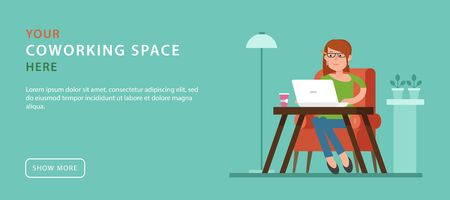 office space: Coworking space. Advertising banner in flat style with women working at the laptop. Simple design of template the web banner with button. Workspace outside the office. Remote work. Illustration