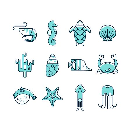 blue and green: Set of marine icons in flat style isolated on white background. Linear style vector collection of sea creatures: turtle, seahorse, shell, shrimp, squid, coral, crab, starfish, jellyfish, fish.