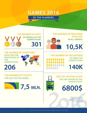 argentina flag: Colorful vector infographic about sports games in Brazil. The concept with statistical data, icons, characters, and colors used in Brazil flag 2016. Sports infographic. Illustration