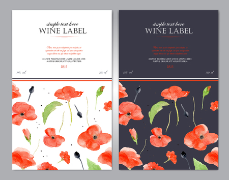 opium: Wine label with watercolor red poppy. Vector template easy editable. In two versions - black and white. Floral motif perfects for original, exquisite packaging. Illustration