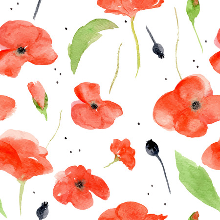 poppy field: Vector watercolor pattern with red poppies on white background. Watercolor illustration perfectly for print, packing and textiles design. Seamless pattern. Illustration