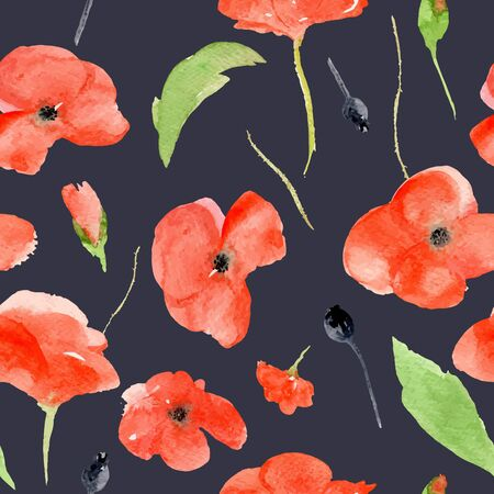 poppy field: Vector watercolor pattern with red poppies on black background. Watercolor illustration perfectly for print, packing and textiles design. Seamless pattern.