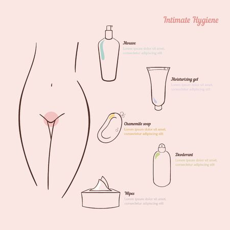 personal grooming: Intimate hygiene. A simple concept with cosmetic items: mousse, soap, wipes, gel, deodorant. Infographic woman hygiene. Vector illustration.