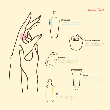 personal grooming: Hygiene and hand care. A simple concept with cosmetic items: cream, soap, scrub, oil. Infographic woman hygiene. Vector illustration.