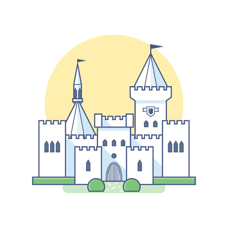 snowwhite: Medieval castle in linear flat style. Vector isolated illustration on white background. Snow-white palace with towers, gates and landscaping.