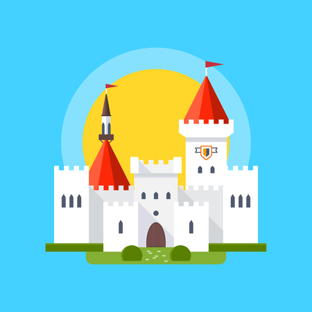 historical romance: Colorful vector illustration of a medieval castle in linear flat style. Vector isolated illustration on blue background. White palace with towers, gates and landscaping on the background of blue sky.