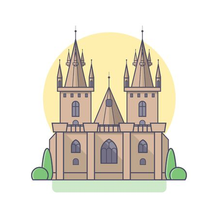 crown spire: Medieval gothic castle in linear flat style. Vector isolated illustration on white background. Palace with towers, stained glass windows, columns and garden plantings. Illustration