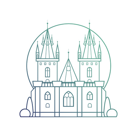 historical romance: Medieval castle with a rainbow gradient fill in linear flat style. Gothic palace with towers, stained glass windows, columns and garden plantings. Vector isolated illustration on white background.