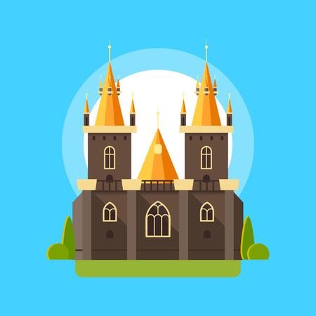 Vector illustration d'un château de style gothique plat linéaire. palais coloré avec des tours, des vitraux, des colonnes et des plantations de jardin. illustration isolé sur fond de ciel bleu. Vecteurs