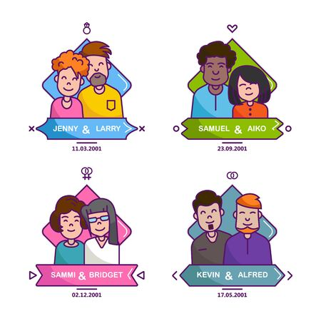 sexes: Traditionally and LGBT families. People in love and relationships. Colorful emblems in a linear flat style. Icon with couple and date. Men and women, lesbians, gays. Illustration