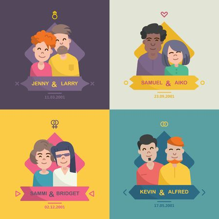 sexes: Colorful family emblems in a linear flat style on bright background. Traditionally and LGBT families. Men and women, lesbians, gays. People in love and relationships. Icon with couple and date. Illustration
