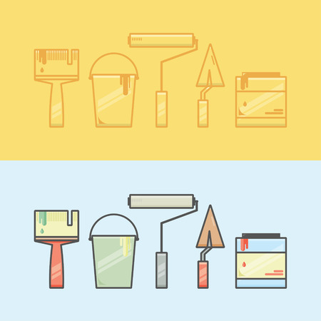 paint can: Vector collection of renovation icons. Linear and color elements including brush, bucket, paint can, trowel, roller. Two colorful concepts perfect for web design, advertising, banners. Illustration