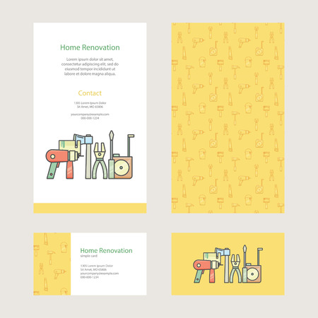 construction companies: Home Repair - brochure and business card with construction tools in modern flat style. Template design easy editing. Perfectly for commercial or personal advertising, construction companies. Illustration