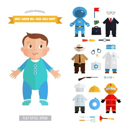 romper: Vector infographics about the future of the profession children. Bright illustration in a flat style with European boy and costumes: astronaut, businessman, sheriff, doctor, chef, firefighter.