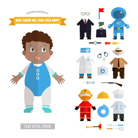 african american boy: Vector infographics about the future of the profession children. Bright illustration in flat style with African American boy and costumes. Astronaut, businessman, sheriff, doctor, chef, firefighter.