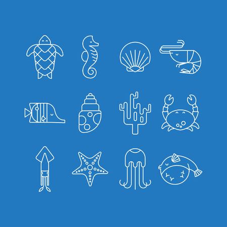 blue crab: Vector set of white marine icons on a blue background. Linear style collection of sea creatures: turtle, seahorse, shell, shrimp, squid, coral, crab, starfish, jellyfish, fish. Sea life. Illustration