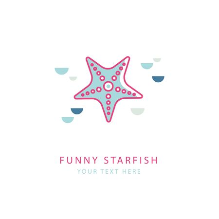 dolphinarium: Vector concept of logo with pink starfish in a linear style. Logo template. Suitable for emblem of sea cruise, travel company, marine or tourism, diving, dolphinarium, oceanarium.