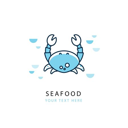 oceanarium: Design of logotype with crab. Design template in trendy linear style. Suitable for the emblem of seafood shop, restaurant, marine company, diving, oceanarium. Place for your text. Illustration