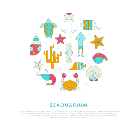 oceanarium: Vector template of seaquarium flyers with sea creatures in liner flat style. Turtle, seahorse, shell, shrimp, squid, coral, crab, starfish, fish. Easy editable. Perfect for promotional materials. Illustration